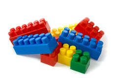 Colorfu l building blocks on white background Stock Image