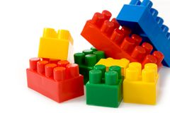 Colorfu l building blocks on white background Royalty Free Stock Images