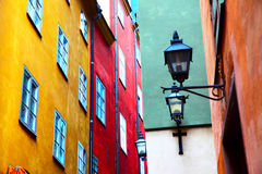 Colorfu motley old houses in Stockholm Royalty Free Stock Image
