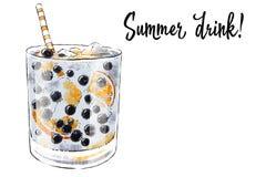 Colorfu pociągany ręcznie ilustracja wyśmienicie smoothie świeża owoc Świeży lato koktajl z czarnymi jagodami i pomarańcze kawowy Obraz Royalty Free
