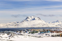 Colorfuk suburb of Nuuk Stock Photography