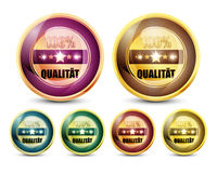 Colorful 100% Qualitat Button Set. Abstract Background royalty free illustration