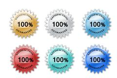 Colorful 100% satisfaction guarantee icons. There are colorful satisfaction guarantee icons stock illustration
