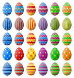 Happy Easter. Collection of Easter eggs with different pattern isolated on a white background. Colorful vector illustration of Easter eggs on a white background royalty free illustration
