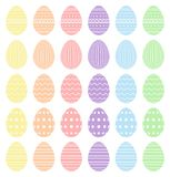 Easter eggs, collection of easter eggs. Beautiful Easter eggs collection. Various patterns and pastel colors - high quality vector. Easter eggs, collection of stock illustration