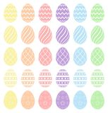 Easter eggs, collection of easter eggs. Pastel spectrum colors. High quality vector eggs isolated on white background. Easter eggs, collection of easter eggs stock illustration