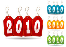 Colorful 2010 tags. Happy new Year 2010 in colorful promo tags Stock Photography