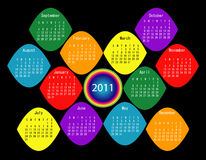 Colorful 2011 Calendar. 2011 Calendar in Rainbow Colors Stock Photo