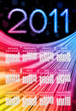 Colorful 2011 Calendar on Black. Background. Rainbow Colors Stock Photo