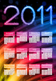 Colorful 2011 Calendar on Black. Background. Rainbow Colors Royalty Free Stock Photos