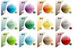 Colorful 2012 calendar, cdr vector. 2012 monthly colorful calendar with previous and next month in the same image, vector format vector illustration