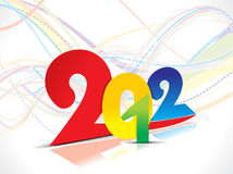 Colorful 2012 new year wave background. Vector illustration Royalty Free Stock Photo