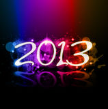 Colorful 2013 New Year Celebration Background. With Glitter and Rainbow Colours Royalty Free Stock Image