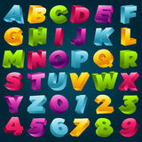 Colorful 3D Alphabet and Numbers. Vector set of colorful 3D alphabet and numbers Royalty Free Stock Photo