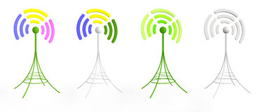 Colorful 3D antennas. Four colorful 3D generated antennas sending radio signal Stock Photo