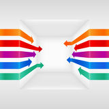 Colorful 3d  arrows. Vector arrow illustration on cube Stock Photography