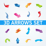 Colorful 3d  arrows set. Collection of 3d  arrows for web Stock Photos