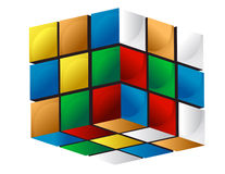 Colorful 3d cube. Isolated over white vector illustration