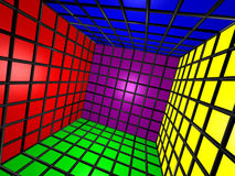 Colorful 3D Cube w/ Grid. Computer generated image of a 3D colorful cube Royalty Free Stock Photos