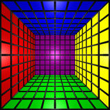 Colorful 3D Cube w/ Grid. Computer generated image of a 3D colorful cube Royalty Free Stock Photography