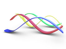 Colorful 3d curves. Four color (blue, red, yellow, green) 3d stripes in form of sinusoidal curves on white background Royalty Free Stock Image