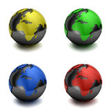 Colorful 3D globes Royalty Free Stock Photography