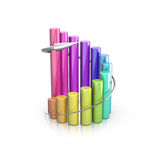 Colorful 3D graph. Business 3D graph with arrow showing profits and gains Royalty Free Stock Photos