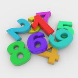 Colorful 3D numbers. Colorful glossy 3D numbers on white surface Stock Photos