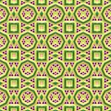 Colorful 3D pattern. Heraldry art texture of square and round shapes imprinted Stock Photos