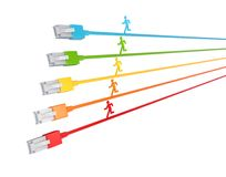 Colorful 3d small people running on a patchcords. Royalty Free Stock Photo