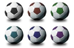 Colorful 3D soccer balls on white background Royalty Free Stock Image