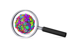 Colorful 3d sphere of numbers in the magnifier Royalty Free Stock Photography