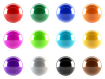 Colorful 3D spheres. Set of colorful and shiny 3d spheres Royalty Free Stock Photo