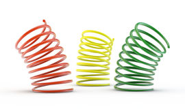 Colorful 3d springs. 3d springs on white background royalty free illustration