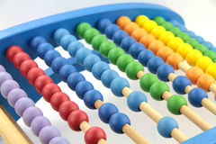 Colorful abacus beads, close up image Royalty Free Stock Images