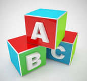 Colorful abc blocks. 3d high quality render Royalty Free Stock Photography