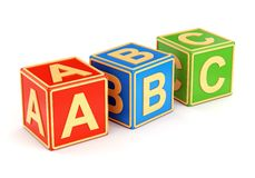 Colorful ABC cubes. Alphabet ABC cubes with letters isolated on white background. Back to school and education concept royalty free illustration