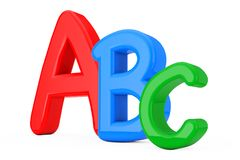 Colorful ABC Language Learning Sign. 3d Rendering. Colorful ABC Language Learning Sign on a white background. 3d Rendering royalty free illustration