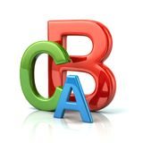 Colorful abc letters 3d illustration. Isolated on white background royalty free illustration
