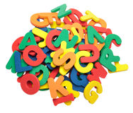 Colorful ABCs. A pile of colorful foam letters Royalty Free Stock Photos