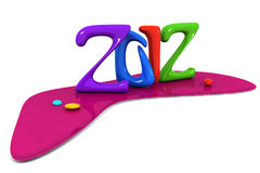 Colorful abstract 2012 calendar new year. Celebration 3d illustration Royalty Free Illustration