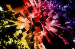 Colorful Abstract. Blocks Background with Dark Top and Colorful Bottom Lights. 3D Render Illustration Stock Photos