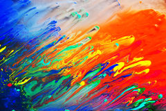 Colorful abstract acrylic painting. Natural dynamic mixture of colors flow background Stock Photo