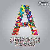 Colorful Abstract Alphabet and Numbers Vector Stock Photo