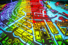 Colorful abstract Amsterdam city map in perspective Stock Images