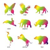Colorful abstract animal icons Stock Image