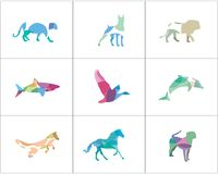 Colorful and abstract animal logos set. Lion, dog, horse, fish  icons, bird and pet shop and care center illustration. Abstract and colorful animals collection Stock Image