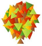Colorful abstract autumn tree made of triangles. Isolated  illustration of colorful abstract autumn tree made of triangles Stock Photography