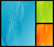 Colorful Abstract Background. Blue Background with flowing lines and stars. Includes green and orange color options. Easy-edit layered file stock illustration