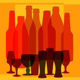 Colorful abstract background with bottles. And glasses royalty free illustration